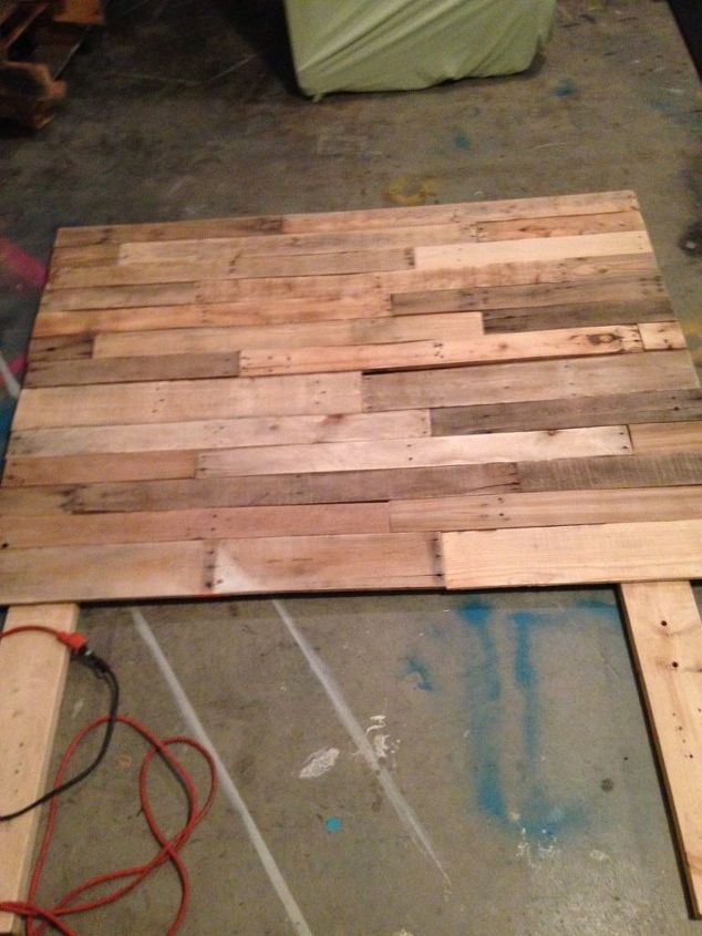 Pallet headboard hometalk for How to make a king size headboard out of pallets