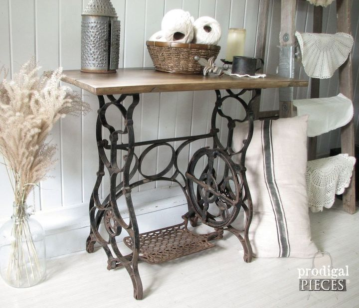 Antique treadle sewing machine gets reclaimed farmhouse makeover hometalk - Four ways to repurpose an old sewing machine ...