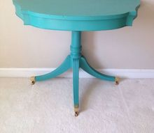 vintage turquoise demilune table turned boho chic, painted furniture