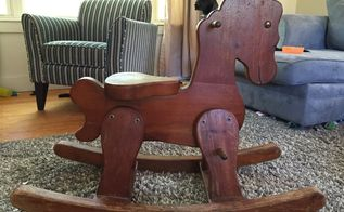 q old rocking horse id, painted furniture, repurposing upcycling