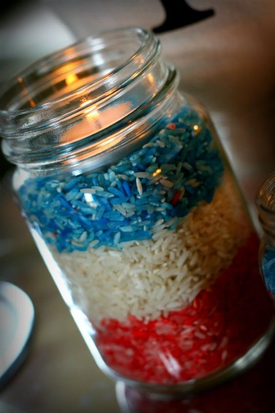 Patriotic red white and blue table decor hometalk - Red white blue decorations ...