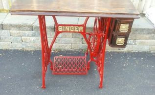 upcycled old singer sewing machine, painted furniture, repurposing upcycling
