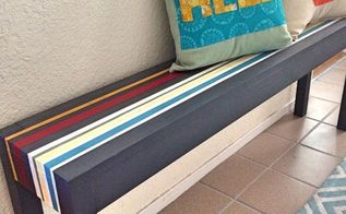 painted striped entryway bench, chalk paint, foyer, painted furniture