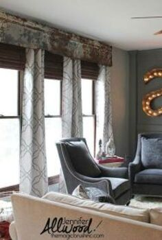 repurposed rusty old tin panels into cornice board, how to, repurposing upcycling, wall decor, window treatments, windows