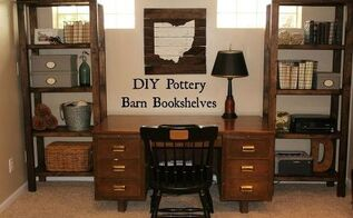 diy pottery barn bookshelf, diy, home office, painted furniture, rustic furniture, shelving ideas, storage ideas, woodworking projects