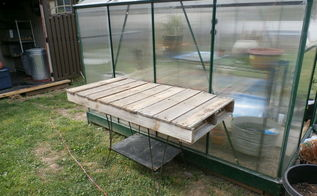 potting bench outside green house, gardening, outdoor furniture, pallet, repurposing upcycling