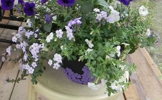 garden chair, container gardening, gardening, painted furniture