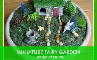miniature fairy garden in a planter, container gardening, crafts, gardening