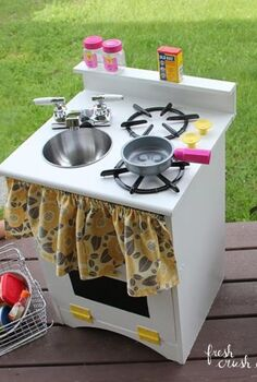 diy play kitchen from an old night stand, crafts, how to, painted furniture, repurposing upcycling