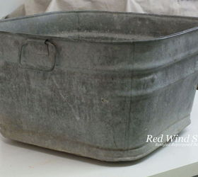 wash tub ottoman painted furniture repurposing upcycling reupholster