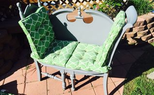 diy loveseat from old chairs and a headboard itscentsational, painted furniture, repurposing upcycling