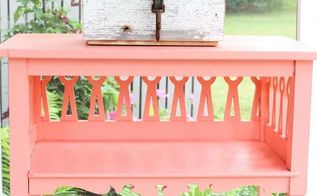 coral painted outdoor table, gardening, outdoor furniture, outdoor living, painted furniture