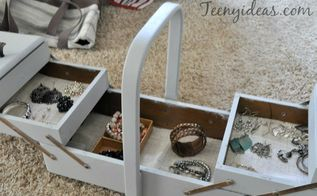 vintage sewing box repurposed as a jewelry box, crafts, repurposing upcycling, storage ideas