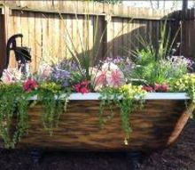clawfoot tub with water pump garden attraction, container gardening, flowers, gardening, ponds water features, The After picture