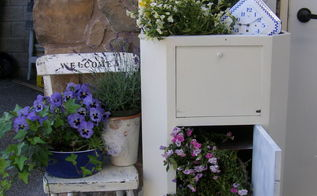 vintage porch vignette, chalk paint, container gardening, gardening, porches, repurposing upcycling