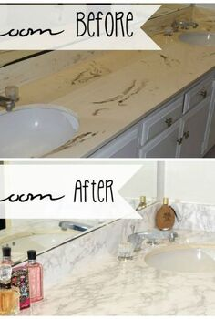master bathroom faux marble makeover in the home, bathroom ideas, countertops