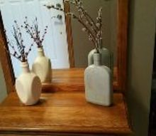 painted liquor bottle vases, chalk paint, crafts, repurposing upcycling