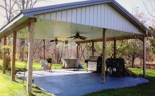 q ideas for a covered outdoor shelter area, concrete masonry, decks, flooring, outdoor living