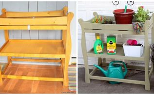 a changing table becomes a potting bench, gardening, outdoor furniture, painted furniture, repurposing upcycling
