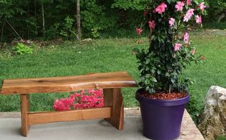 natural wood diy garden bench tutorial, diy, how to, outdoor furniture, woodworking projects