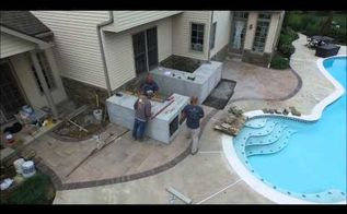 outdoor kitchen in progress, kitchen design, outdoor living