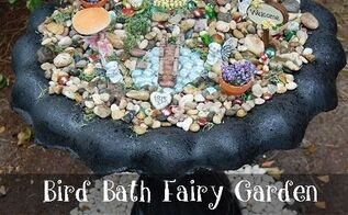 repurposed bird bath to fairy garden, container gardening, gardening, outdoor living, repurposing upcycling