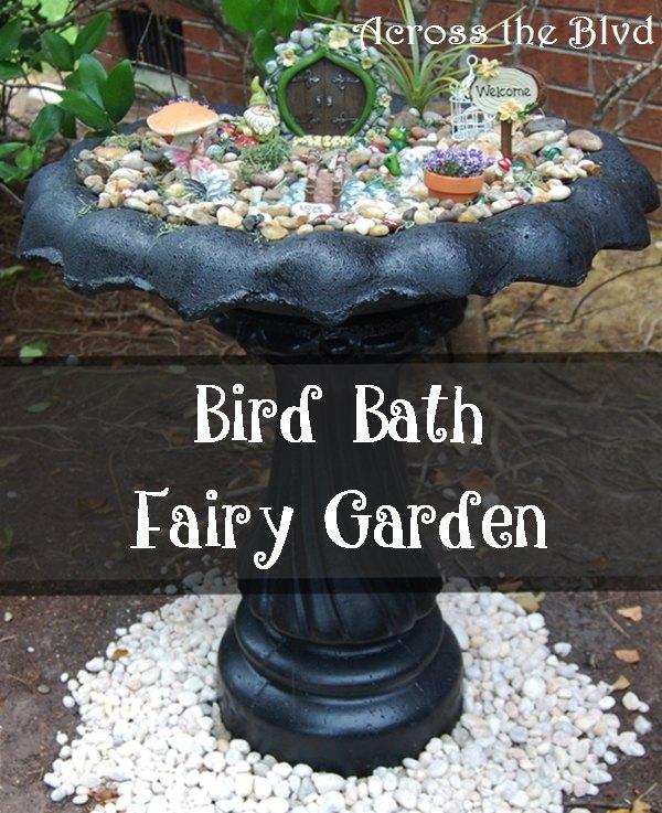 Repurposed Bird Bath To Fairy Garden
