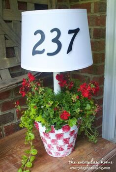 solar powered front porch lamp and planter, crafts, gardening, how to, lighting, outdoor living, porches