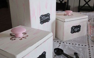 shabby chic canister set, chalk paint, crafts, kitchen design, shabby chic