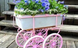 doll carriage planter, container gardening, gardening, repurposing upcycling