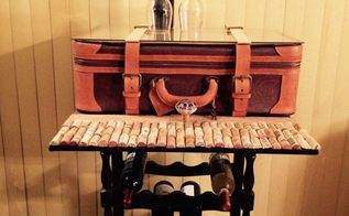 repurposed suitcase to wine table, painted furniture, repurposing upcycling