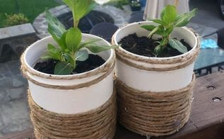 tiny flower containers, container gardening, gardening, repurposing upcycling