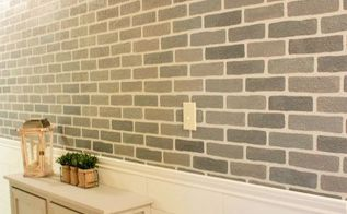 a diy stenciled brick hallway accent wall, foyer, painting, wall decor