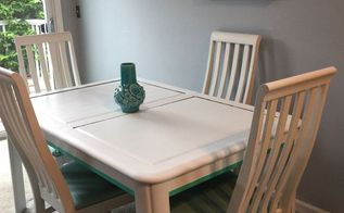 dining room table and chairs makeover, painted furniture, reupholster, The finished product