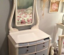 added life to a antique dresser, painted furniture, repurposing upcycling