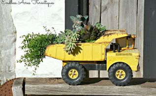 mini truck gardens containers, container gardening, gardening, repurposing upcycling