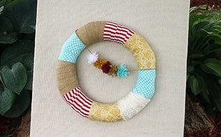 burlap covered canvas with wreath, crafts, how to, wreaths