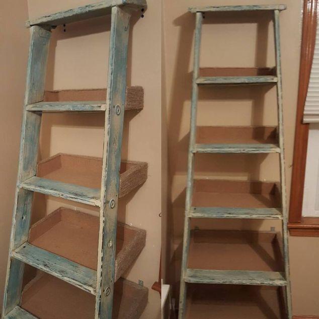 Repurposed ladder shelf project hometalk for Ladder project