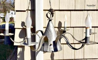 a tin punch chandelier gets a summer makeover, how to, lighting, outdoor living, repurposing upcycling