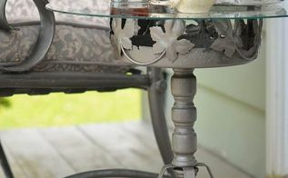 how to create an outdoor accent table out of a rusty plant stand, container gardening, gardening, how to, outdoor living