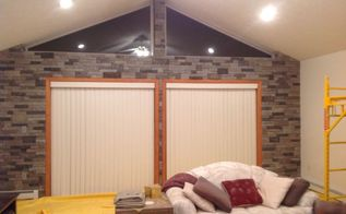 diy inexpensive stone wall install, wall decor, Done