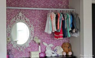 stenciled rose blooms on walls, bedroom ideas, closet, painting, wall decor