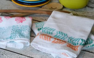 block printed dish towels, crafts, how to