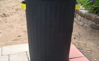 upcycled trash can, outdoor living, painting