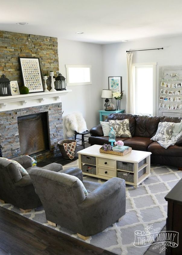 A vintage industrial country summer home tour hometalk for Industrial living room ideas