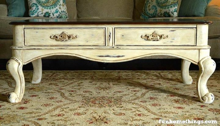 french country coffee table makeover, chalk paint, painted furniture - French Country Coffee Table Makeover! Hometalk