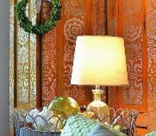 the elegant side of rust a rust and platinum stenciled room divider, home decor, painting