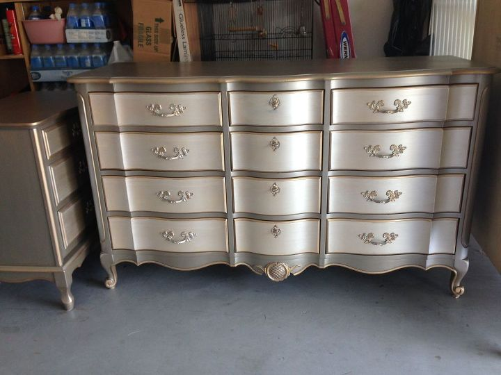 Metallic Two Toned Dresser And Side Table Hometalk