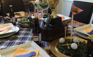 father s day mini golf tablescape, dining room ideas, seasonal holiday decor