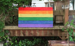 diy gay pride pallet flag, crafts, outdoor living, pallet, repurposing upcycling